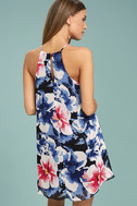 Here and Luau Navy Blue Floral Print Swing Dress 3