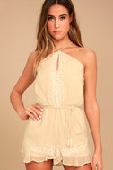 New Friends Colony Hadara Beige Embroidered Romper 1