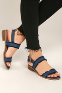 Elin Dark Blue Denim Heeled Sandals 2