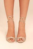 Melisenda Nude Lucite Lace-Up Heels 2