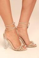 Melisenda Nude Lucite Lace-Up Heels 3