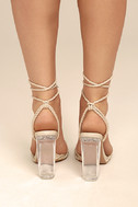 Melisenda Nude Lucite Lace-Up Heels 4