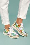 Free People Jackson White Tropical Print Espadrille Sneakers 2