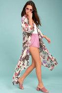 Patrons of Peace Rosa Cream Floral Print Kimono Top 2