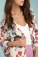Patrons of Peace Rosa Cream Floral Print Kimono Top 4