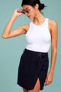 J.O.A. Jakinda Navy Blue Belted Envelope Mini Skirt 1