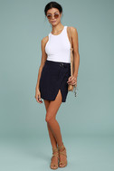 J.O.A. Jakinda Navy Blue Belted Envelope Mini Skirt 2