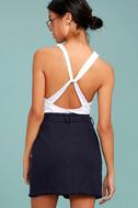 J.O.A. Jakinda Navy Blue Belted Envelope Mini Skirt 3