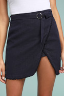 J.O.A. Jakinda Navy Blue Belted Envelope Mini Skirt 4