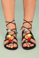 Isabeau Black Lace-Up Pompom Sandals 2