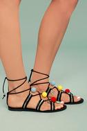 Isabeau Black Lace-Up Pompom Sandals 3