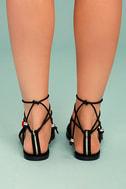 Isabeau Black Lace-Up Pompom Sandals 4