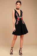 Romantic Rose Black Embroidered Skater Dress 2