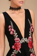 Romantic Rose Black Embroidered Skater Dress 4