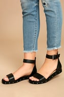 Chinese Laundry Grady Black Leather Ankle Strap Sandals 2