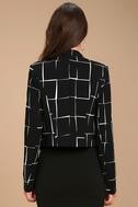 Born to Lead Black and White Grid Print Cropped Blazer 3