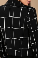 Born to Lead Black and White Grid Print Cropped Blazer 4