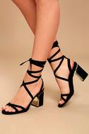 Ailsa Black Suede Lace-Up Heels 1