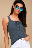 White Crow Play With Fire Washed Navy Blue Lace-Up Tank Top 1