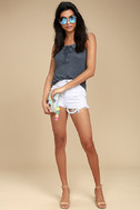 White Crow Play With Fire Washed Navy Blue Lace-Up Tank Top 2