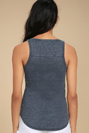 White Crow Play With Fire Washed Navy Blue Lace-Up Tank Top 3