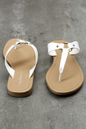 Alessia White Thong Sandals 2