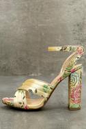 Genevieve Champagne Brocade Ankle Strap Heels 1