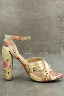 Genevieve Champagne Brocade Ankle Strap Heels 3
