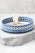Aspen Blue Embroidered Choker Necklace Set 1