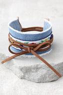 Denim Darling Blue and Brown Embroidered Wrap Bracelet 1