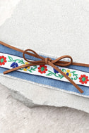 Denim Darling Blue and Brown Embroidered Wrap Bracelet 2