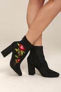 Berenice Black Suede Embroidered Mid-Calf Boots 2