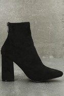 Berenice Black Suede Embroidered Mid-Calf Boots 4