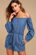 Free People Tangled in Willows Blue Chambray Romper 1
