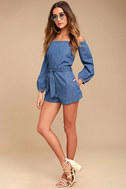 Free People Tangled in Willows Blue Chambray Romper 2