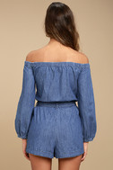 Free People Tangled in Willows Blue Chambray Romper 3