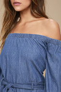 Free People Tangled in Willows Blue Chambray Romper 4