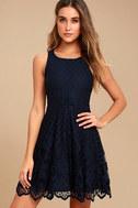 Black Swan Desirae Navy Blue Lace Skater Dress 1
