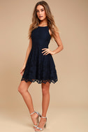 Black Swan Desirae Navy Blue Lace Skater Dress 2