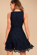 Black Swan Desirae Navy Blue Lace Skater Dress 3