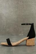 June Black Cork Ankle Strap Heels 1