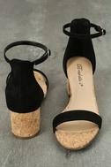 June Black Cork Ankle Strap Heels 2
