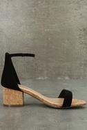 June Black Cork Ankle Strap Heels 3
