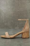 June Natural Cork Ankle Strap Heels 1
