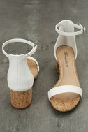 June White Cork Ankle Strap Heels 2