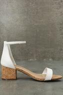 June White Cork Ankle Strap Heels 3
