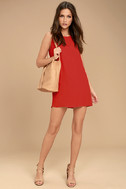Sassy Sweetheart Coral Red Shift Dress 2