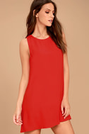 Sassy Sweetheart Coral Red Shift Dress 3