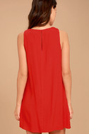 Sassy Sweetheart Coral Red Shift Dress 4