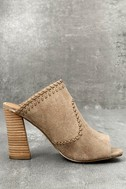 Report Marlo Taupe Suede Peep-Toe Mules 3